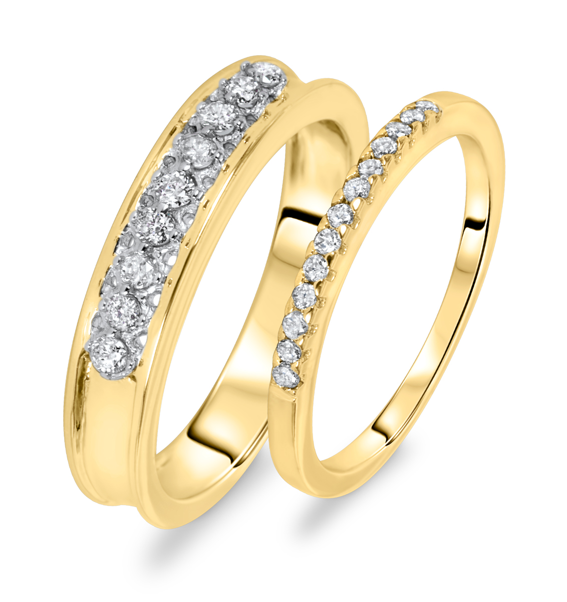 3 8 ct t w his and hers wedding rings 14k yellow