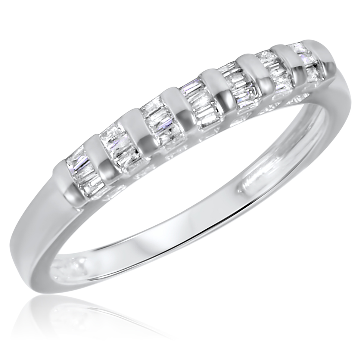 1/2 CT. T.W. Diamond His And Hers Wedding Rings 14K White ...