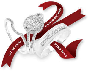 trio rings with ribbon