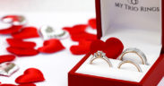 matching trio wedding ring set for valentine's day by my trio rings