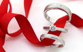 Trio Wedding Ring Set: Matching engagement ring, ladies band and men's band by My Trio Rings.