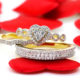 lets have a heart to heart_ heart shaped diamond engagement rings and matching wedding bands