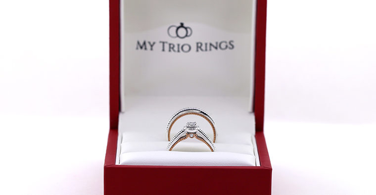Matching wedding ring by my trio rings in the Little Red Box