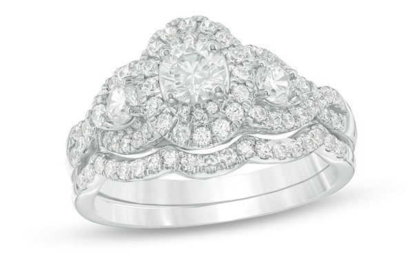 Zales three stone 1 and 1 sixteenth diamond engagement ring