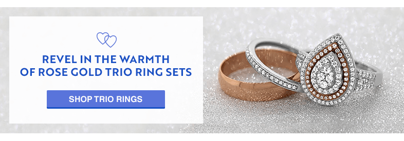 Revel in the Warmth of Rose Gold Trio Ring Sets by My Trio Rings. shop Rose Gold Trio rings sets.