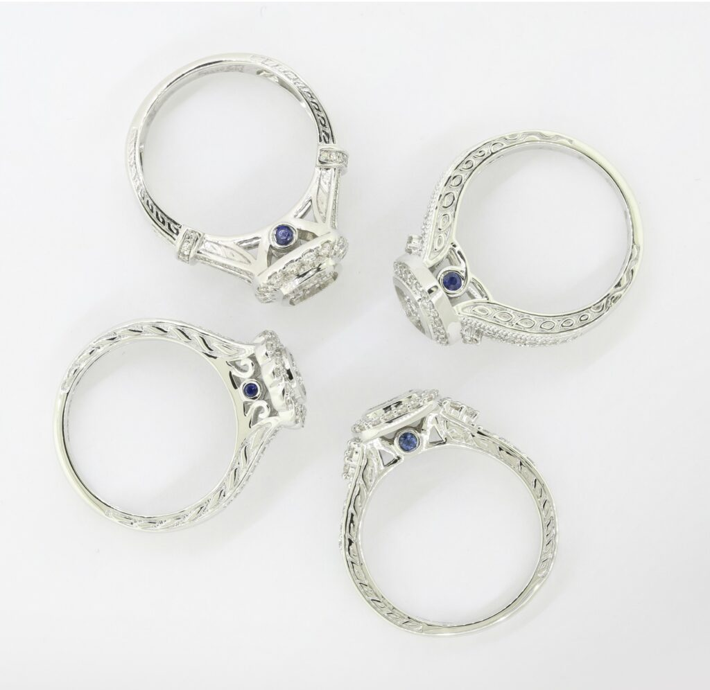 Blue Sapphire Ethereal connection Engagement Rings by My Trio Rings