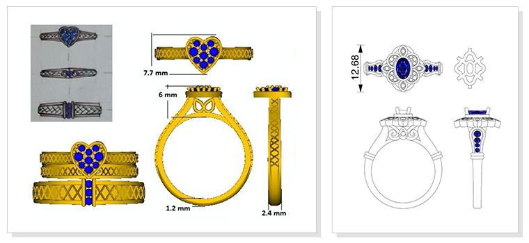 CAD drawings of affordably priced wedding rings