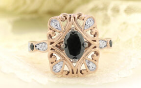 The Fatima, black diamond Engagement ring