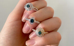 blue diamond engagement rings by My Trio Rings