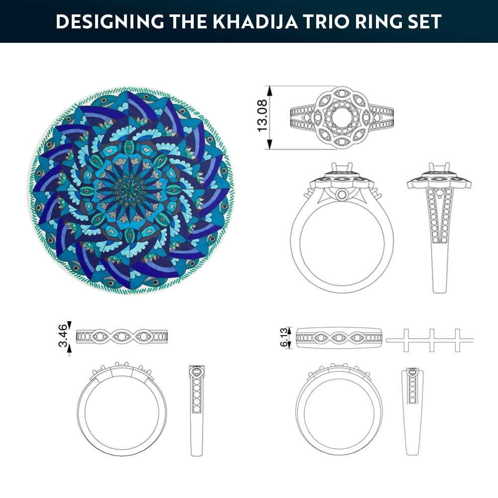 Designing the Khadija Trio Ring Set