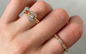 The Yasmine Bridal Ring set in 14K yellow gold