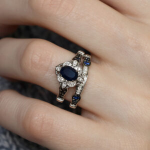 The Amina Bridal Ring Set Blue Sapphire Engagment Ring and matching ladies wedding band br221w