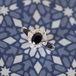 The Amina, blue sapphire engagement ring by My Trio Rings