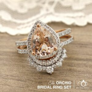 The Orchid Morganite Bridal Ring Set by My Trio Rings