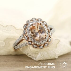 The coral morganite engagement ring by My Trio Rings