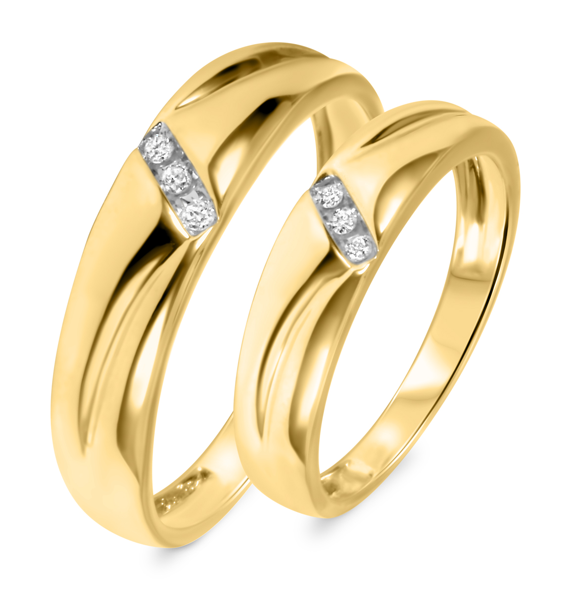 1 10 ct t w diamond his and hers wedding band set 14k yellow gold my trio rings wb539y14k. Black Bedroom Furniture Sets. Home Design Ideas