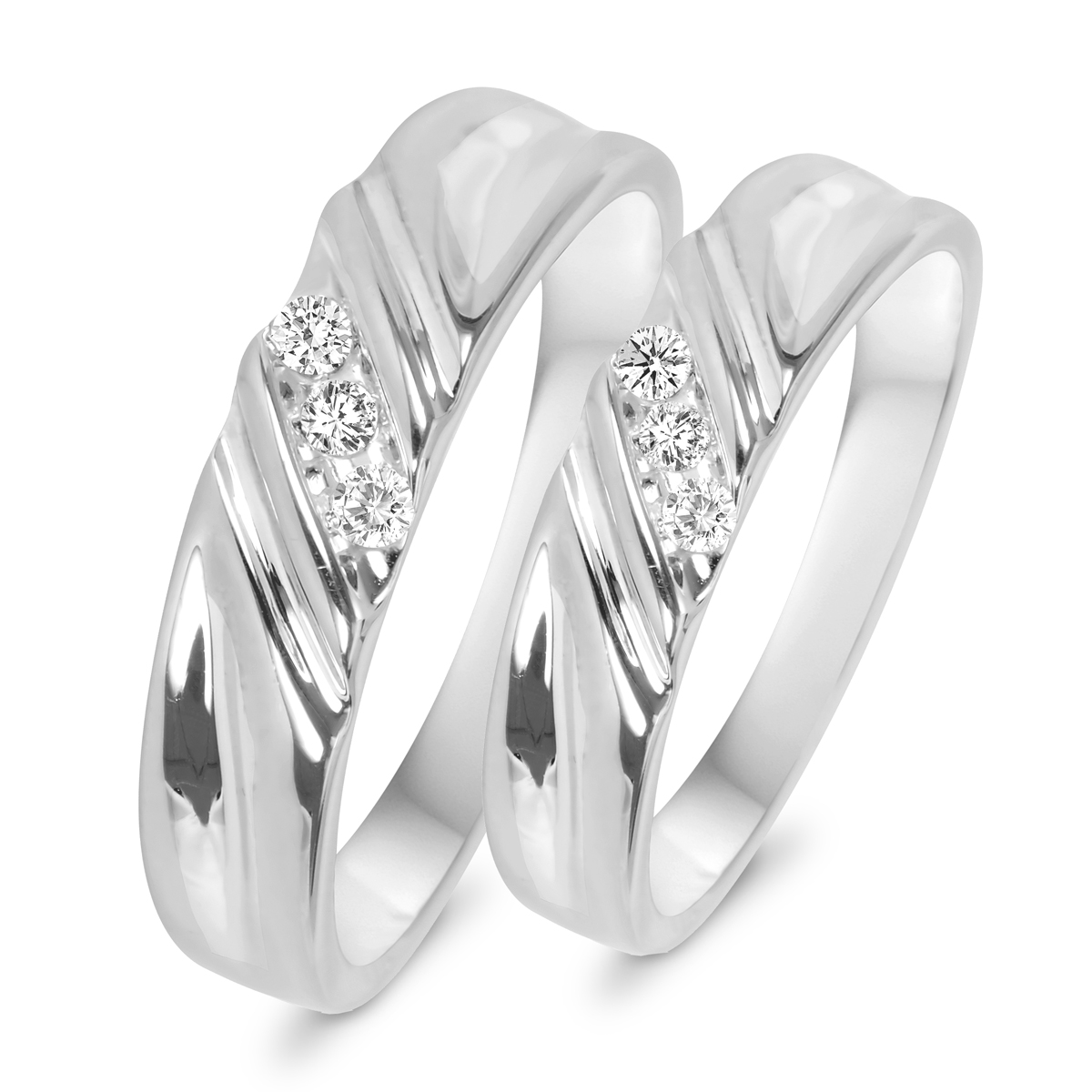 1 10 CT TW Diamond His And Hers Wedding Rings 14K White