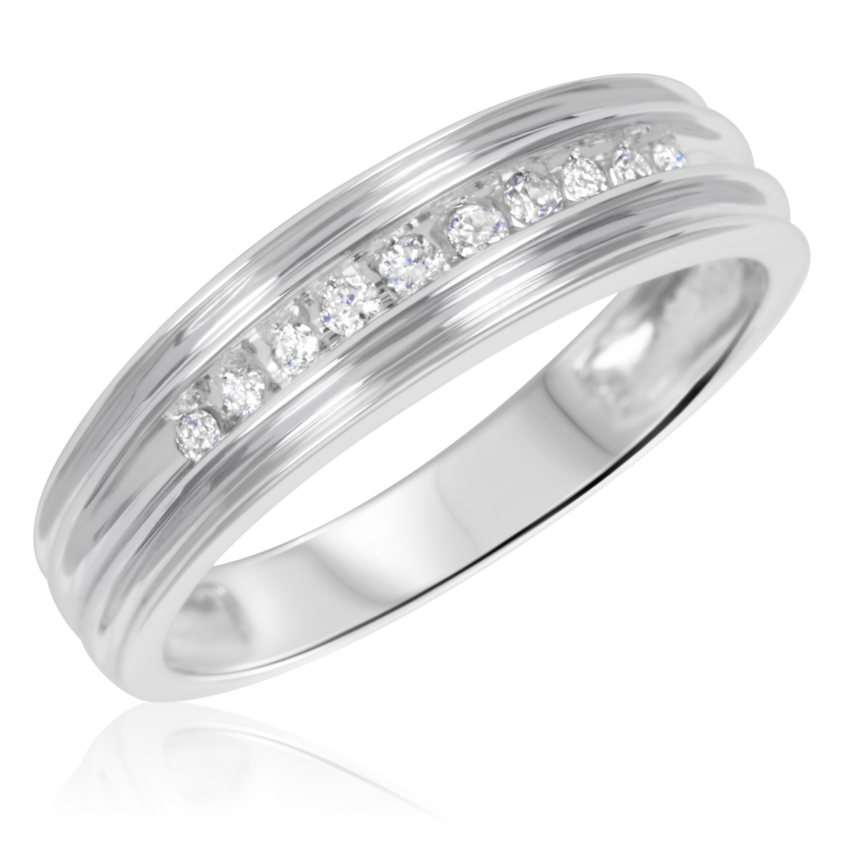 38 carat tw diamond his and hers wedding rings 10k white gold my trio rings wb502w10k