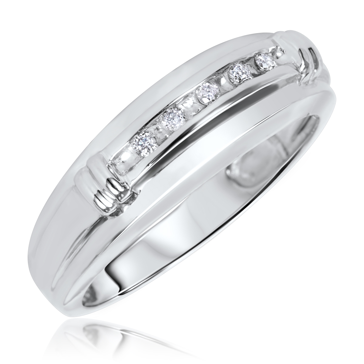 1 10 CT TW Diamond Mens Wedding Band 14K White Gold
