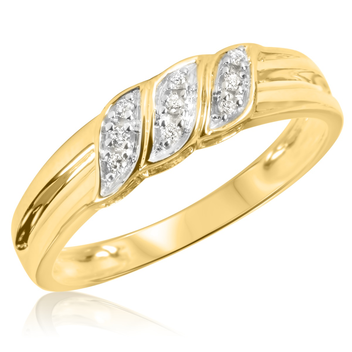 1 10 carat t w diamond men 39 s wedding ring 14k yellow gold. Black Bedroom Furniture Sets. Home Design Ideas