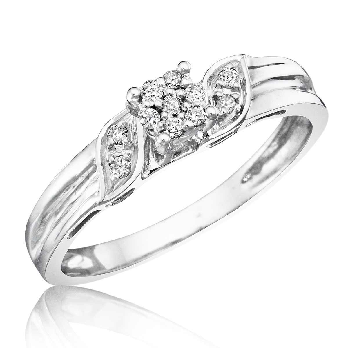 10 carat t w diamond women s engagement ring 10k white gold