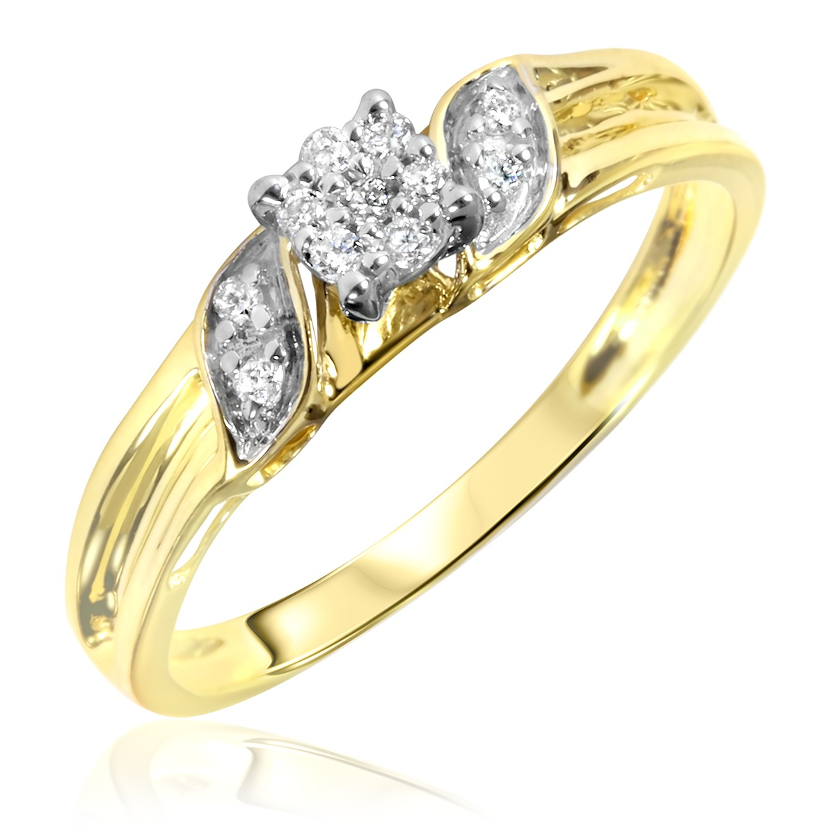 1 10 carat t w diamond women 39 s engagement ring 10k yellow. Black Bedroom Furniture Sets. Home Design Ideas