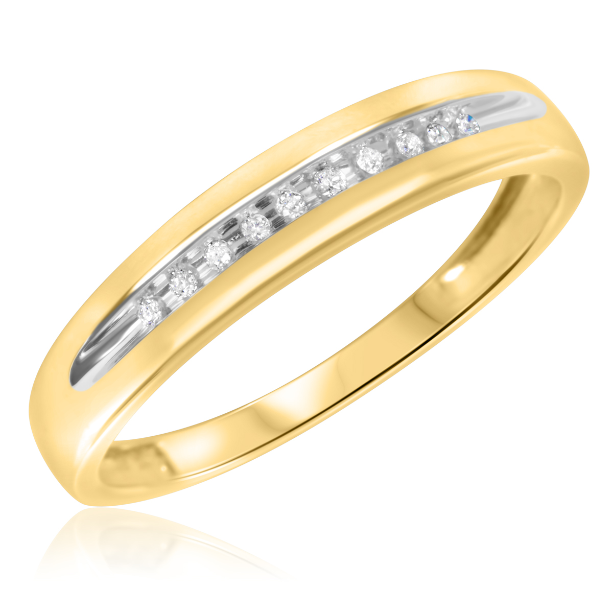 1 15 CT T W Diamond Men s Wedding Band 10K Yellow Gold