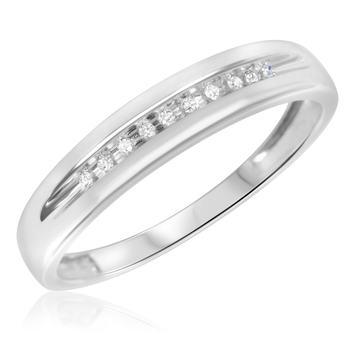 White Gold Bands: 1/15 CT. T.W. Diamond Men's Wedding Band 14K White Gold