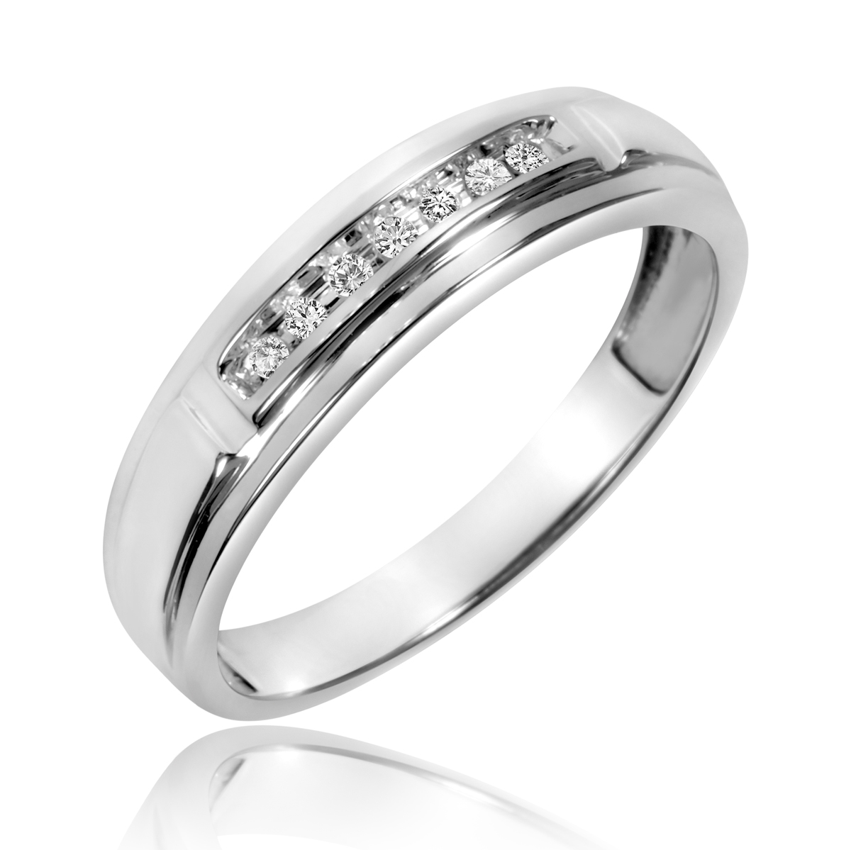 1 1 15 carat t w diamond men s wedding band 10k white for Men s 1 carat diamond wedding bands