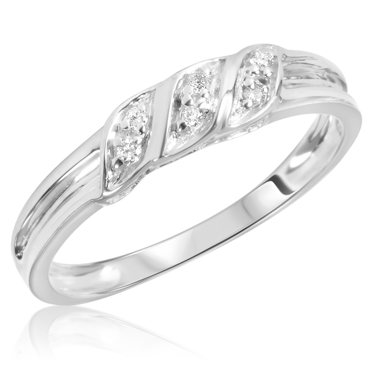 1/15 Carat T.W. Diamond Women's Wedding Ring 14K White ...