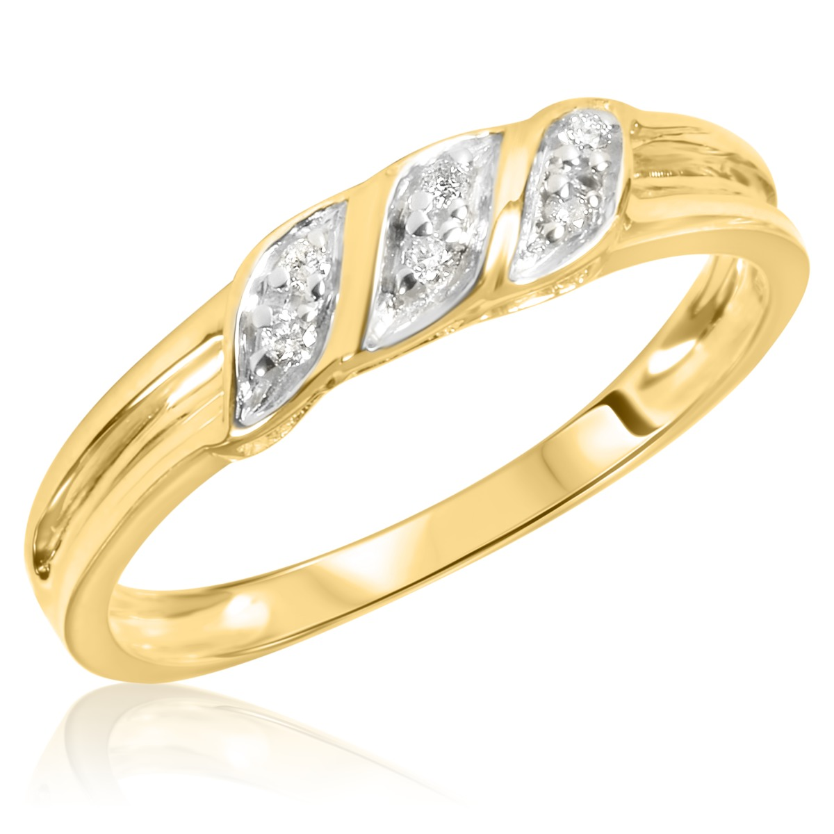 1 7 Carat TW Diamond Ladies And Mens Wedding Rings 14K Yellow Gold
