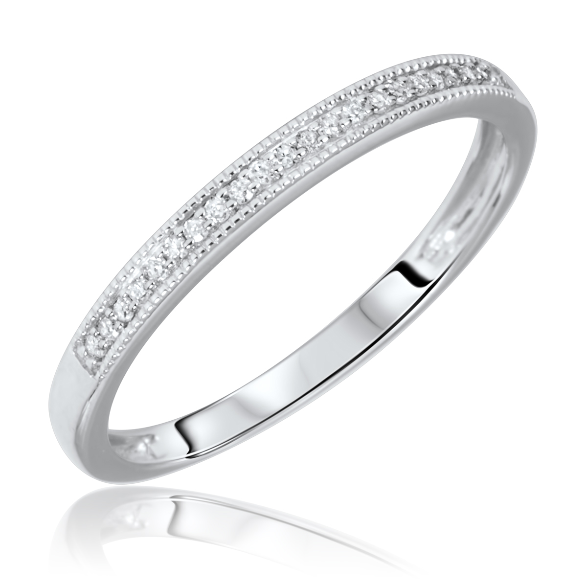 15 Carat T.W. Round Cut Diamond Ladies Wedding Band 14K White Gold