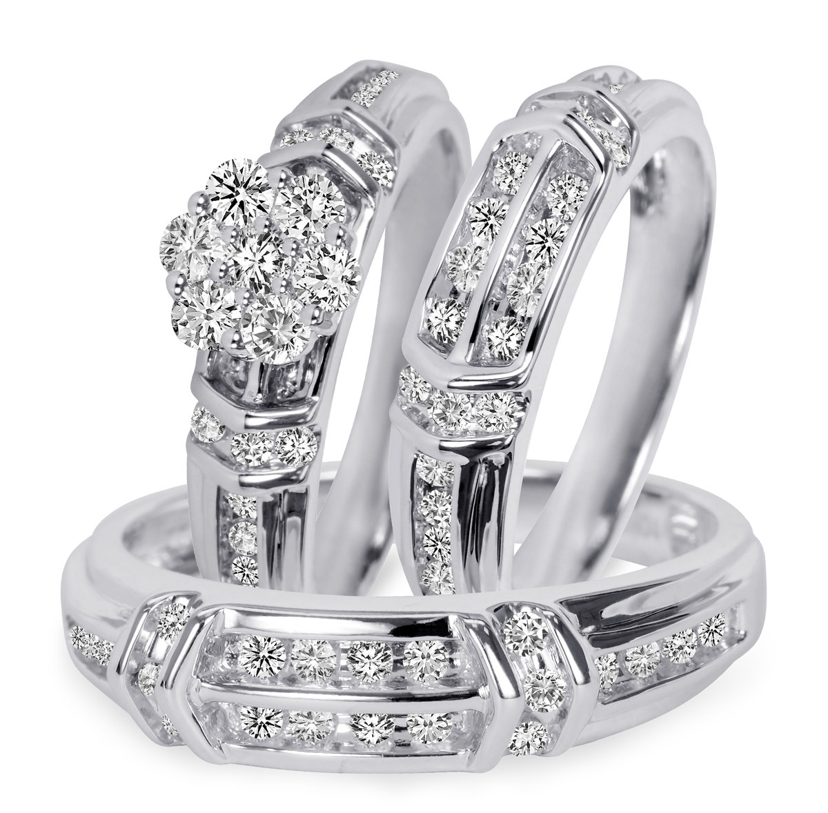 1 1 10 carat tw diamond trio matching wedding ring set for Wedding ring sets white gold