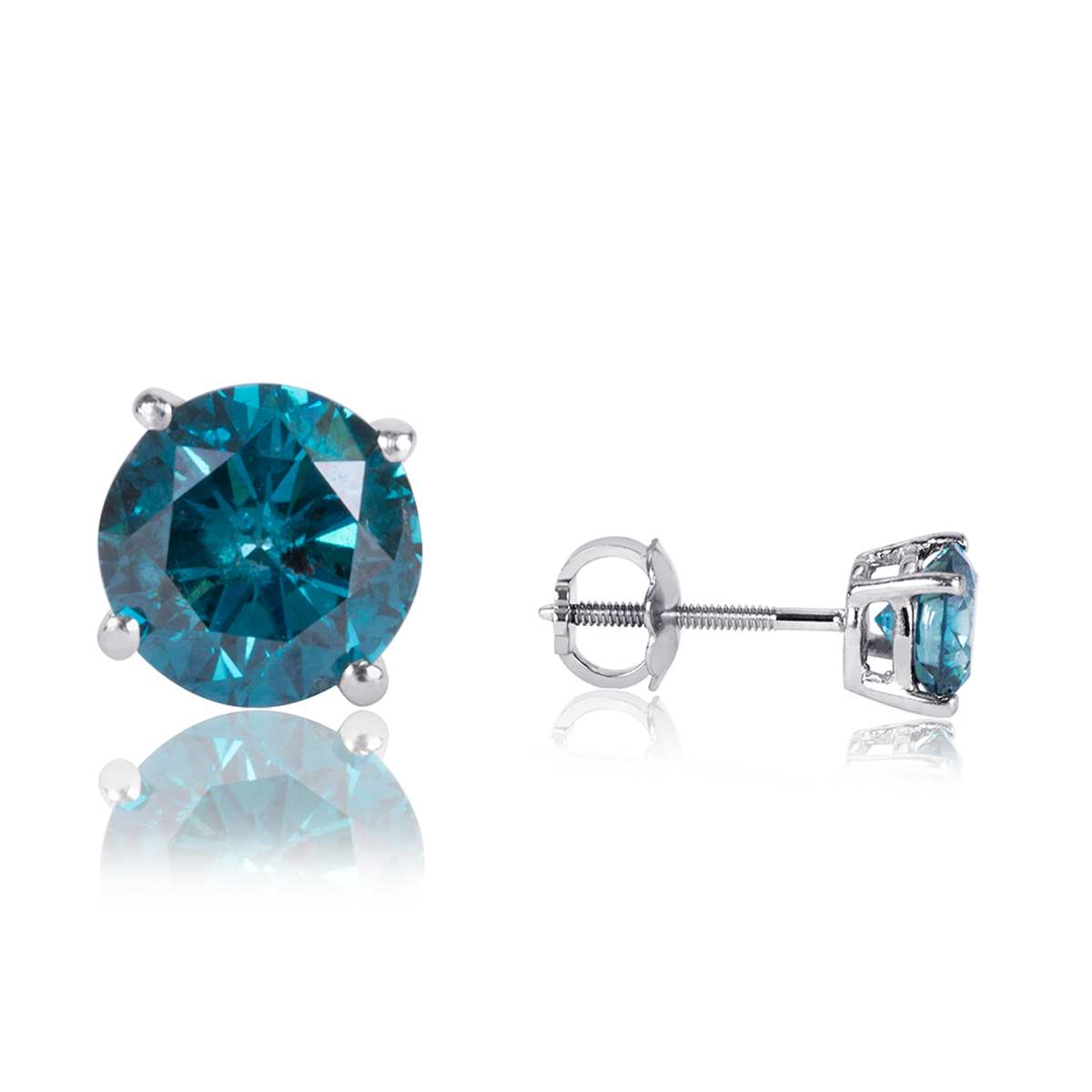 2 Carat Tw Round Cut Solitaire Blue Diamond Stud Earrings 14k White  Gold