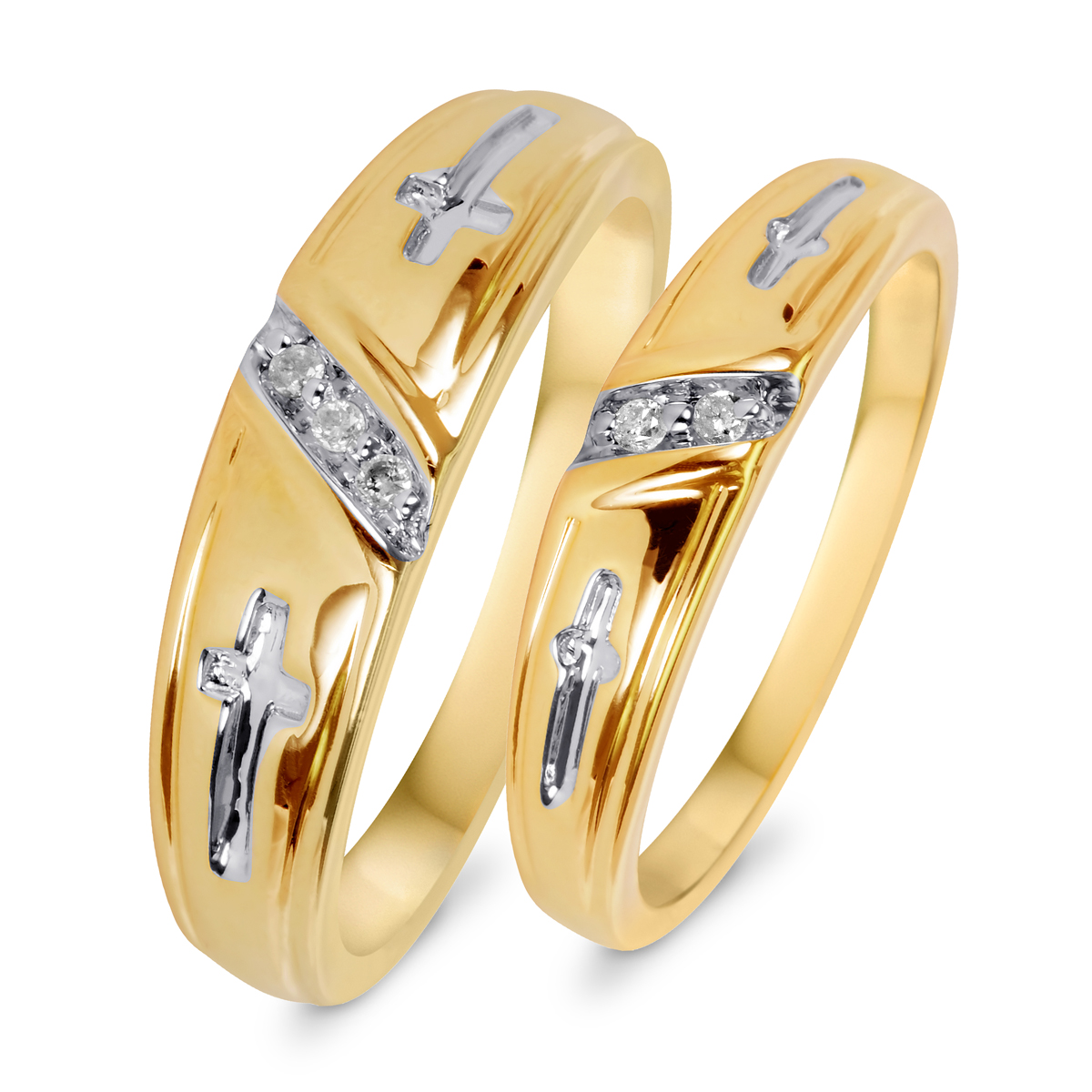 1 20 Carat T W Diamond His And Hers Wedding Band Set 10K Yellow Gold