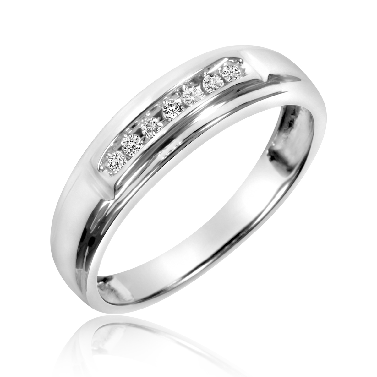 tw diamond trio matching wedding ring set 10k white gold my trio rings bt518w10k - His And Hers Matching Wedding Rings