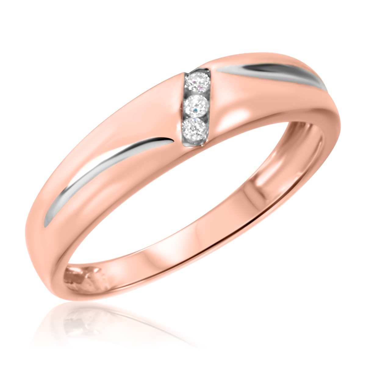 1 10 CT TW Diamond His And Hers Wedding Band Set 14K Rose Gold