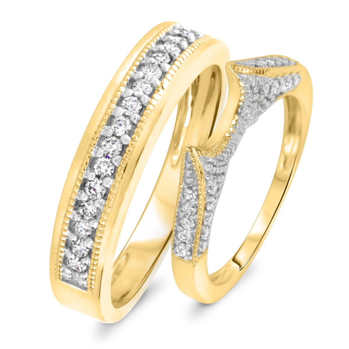 1 2 CT TW Diamond His And Hers Wedding Rings 14K Yellow Gold