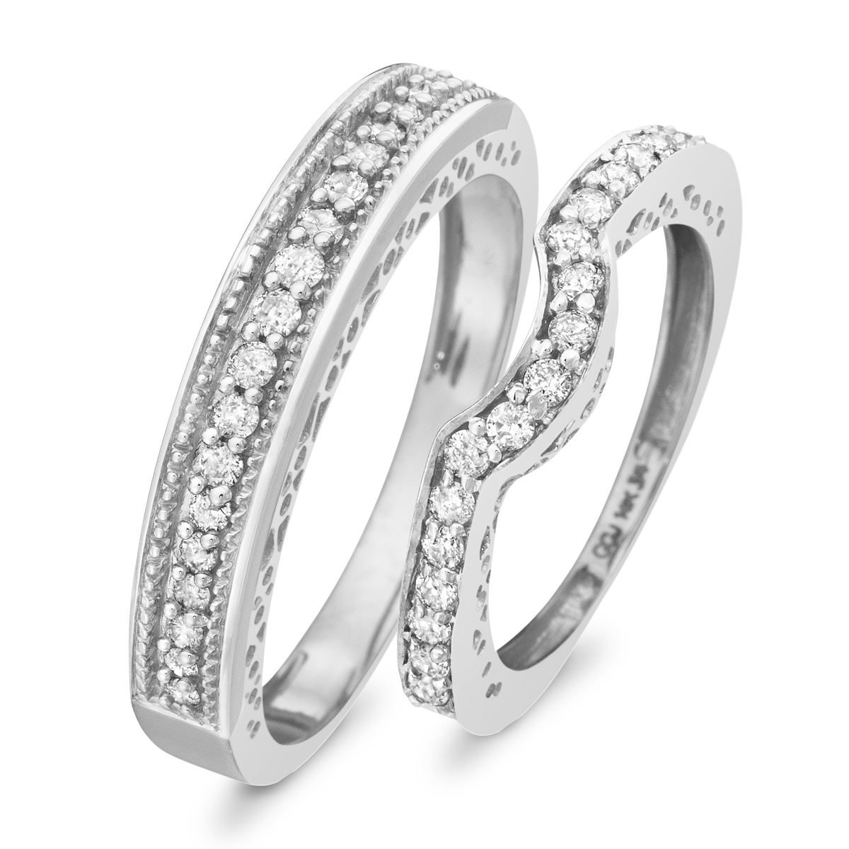 CT. T.W. Diamond Matching Wedding Band Set 14K White Gold