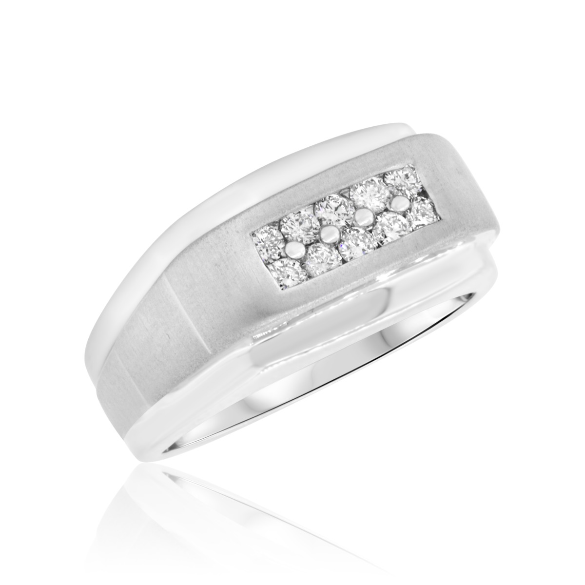 1 2 CT TW Diamond Mens Wedding Band 10K White Gold