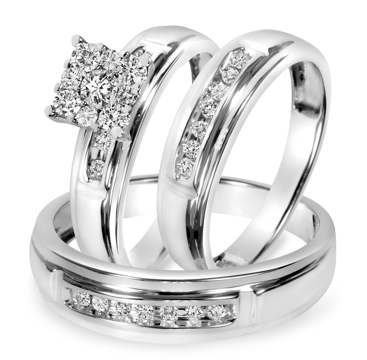 tw diamond trio matching wedding ring set 10k white gold my trio rings bt518w10k - White Gold Wedding Rings