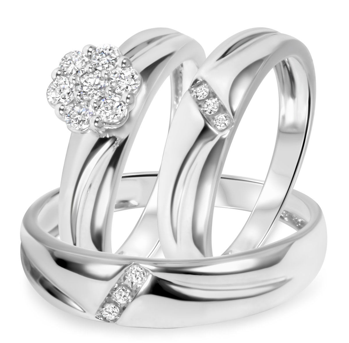 tw diamond trio matching wedding ring set 14k white gold my trio rings bt539w14k - White Gold Wedding Rings Sets