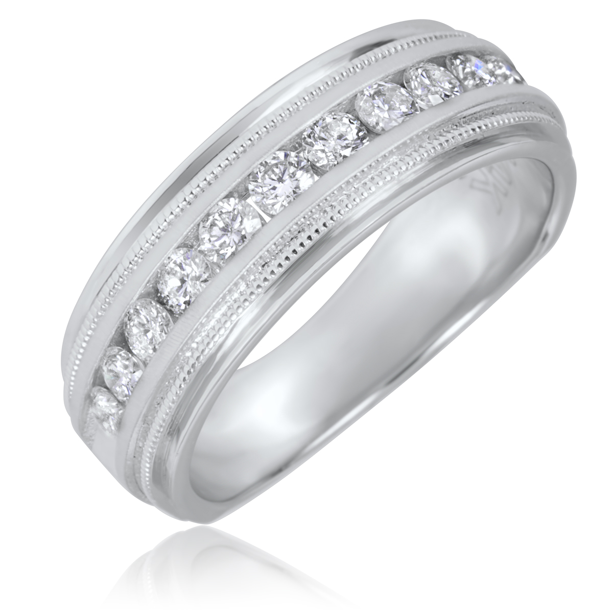 1 2 CT TW Round Cut Diamond Mens Wedding Band 14K White Gold