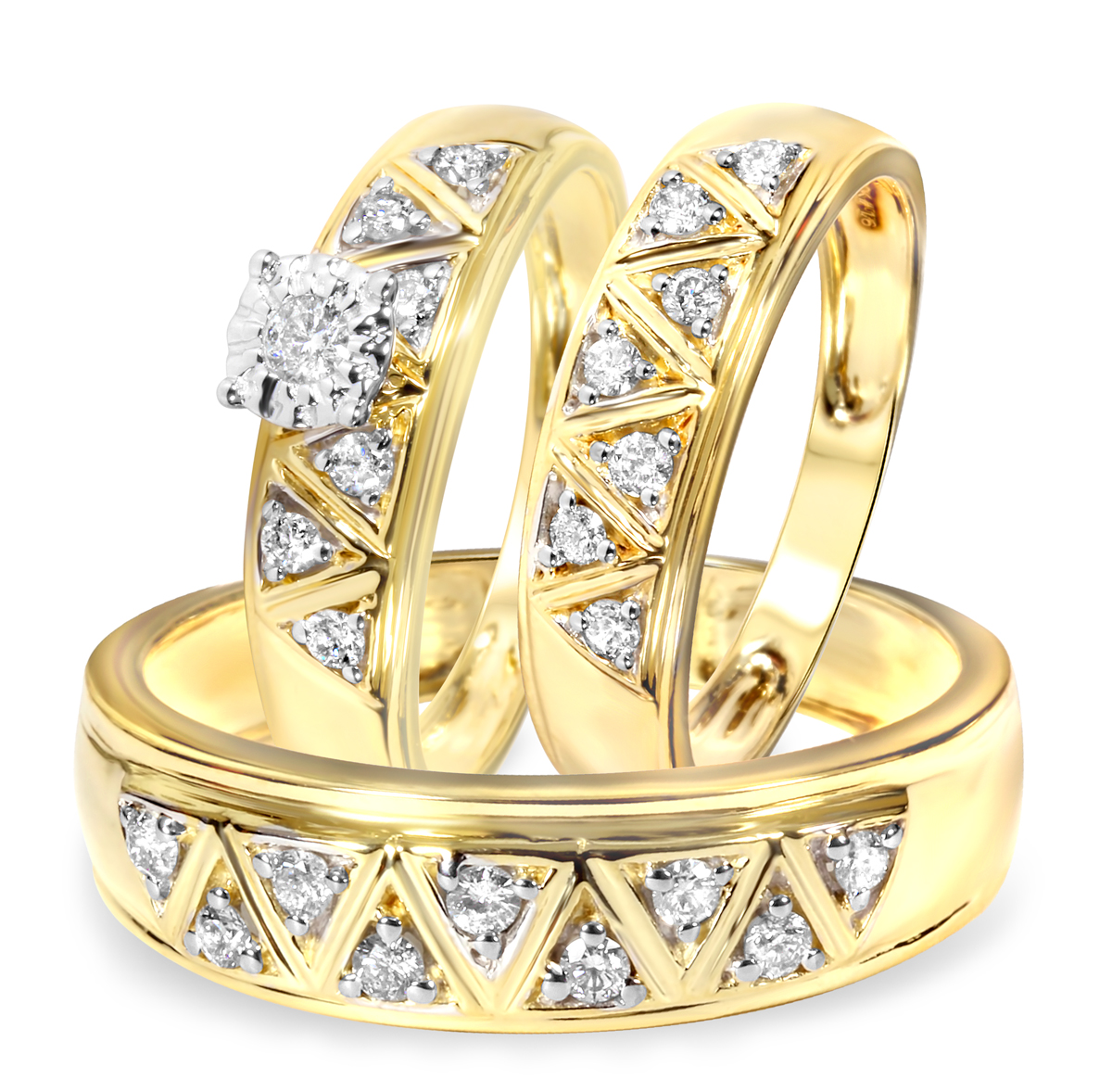1 2 Carat Diamond Trio Wedding Ring Set 10K Yellow Gold My Trio Rings