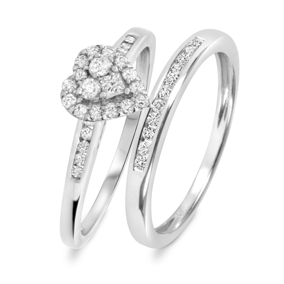 1 2 carat tw diamond ladies39 bridal wedding ring set 10k for Ladies diamond wedding ring sets