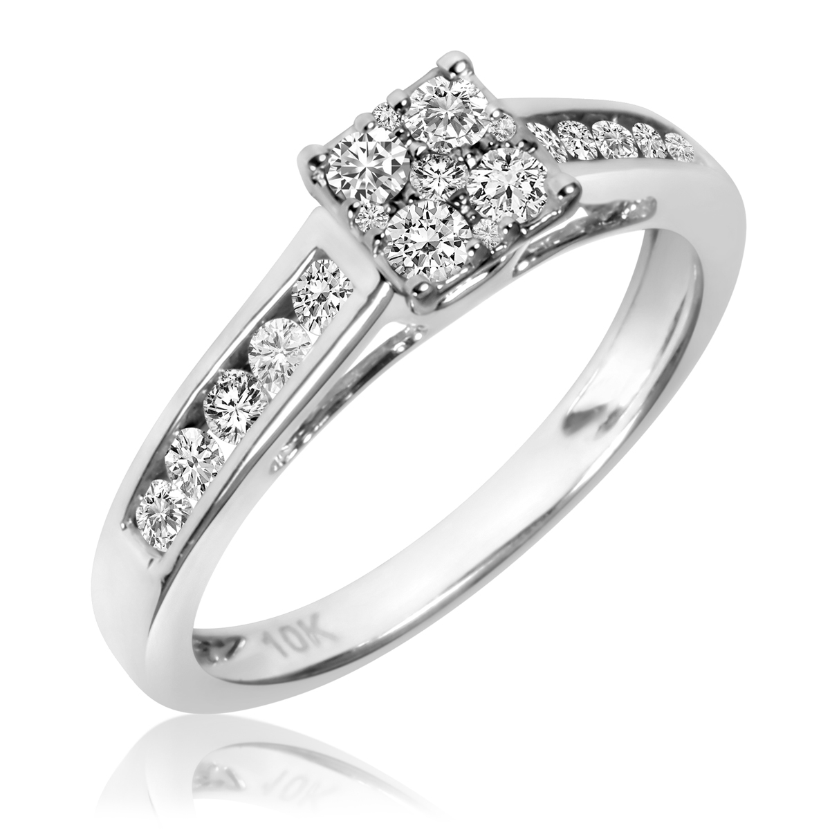 1 2 Carat TW Diamond Ladies Engagement Ring 14K White Gold