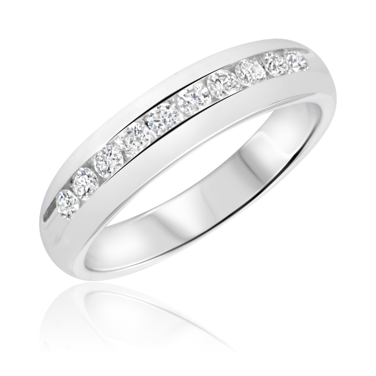 1 2 carat t w diamond men 39 s wedding ring 14k white gold for Men s 1 carat diamond wedding bands