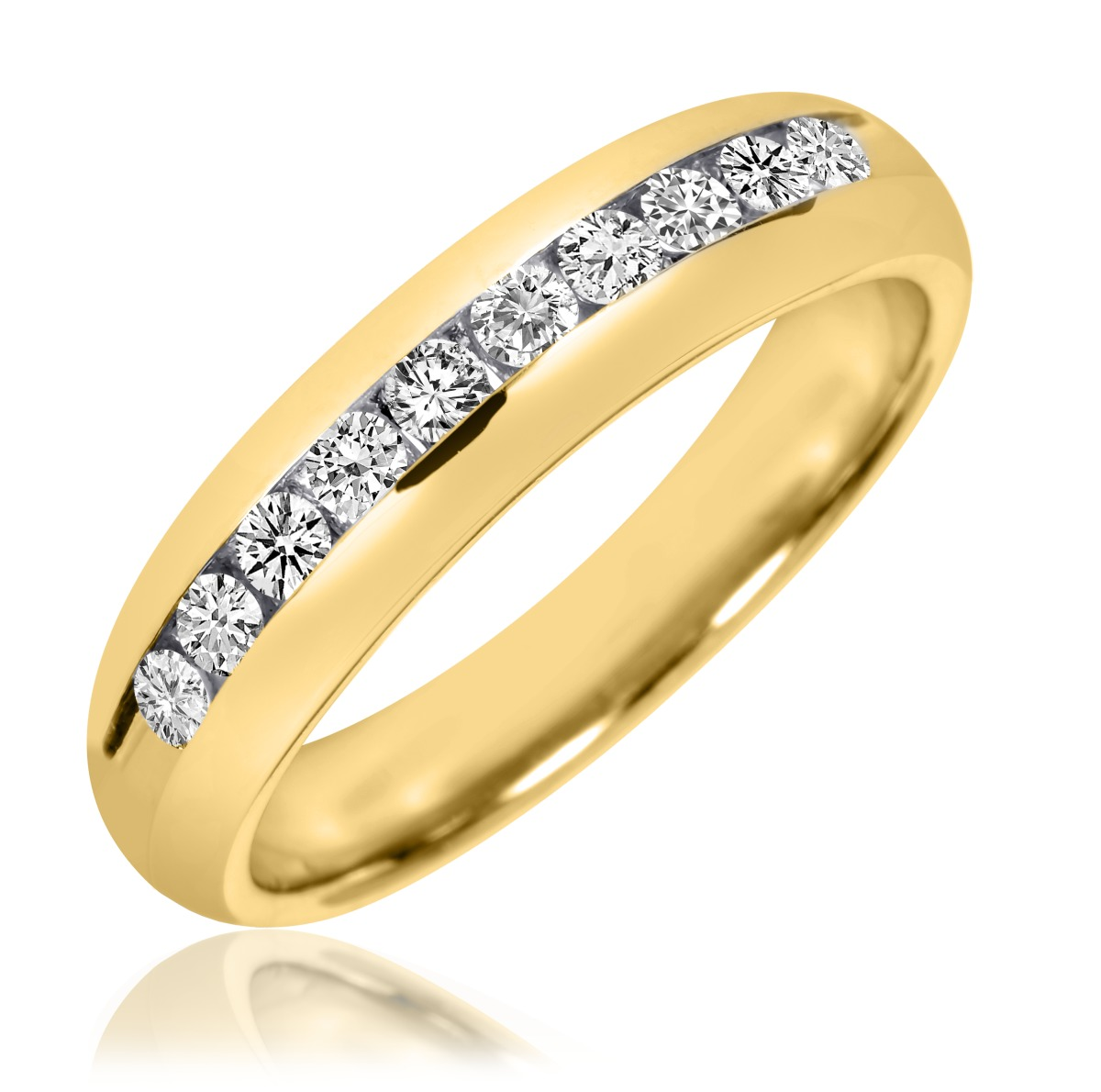 Karat Yellow Gold And Diamond Channel Set Ring