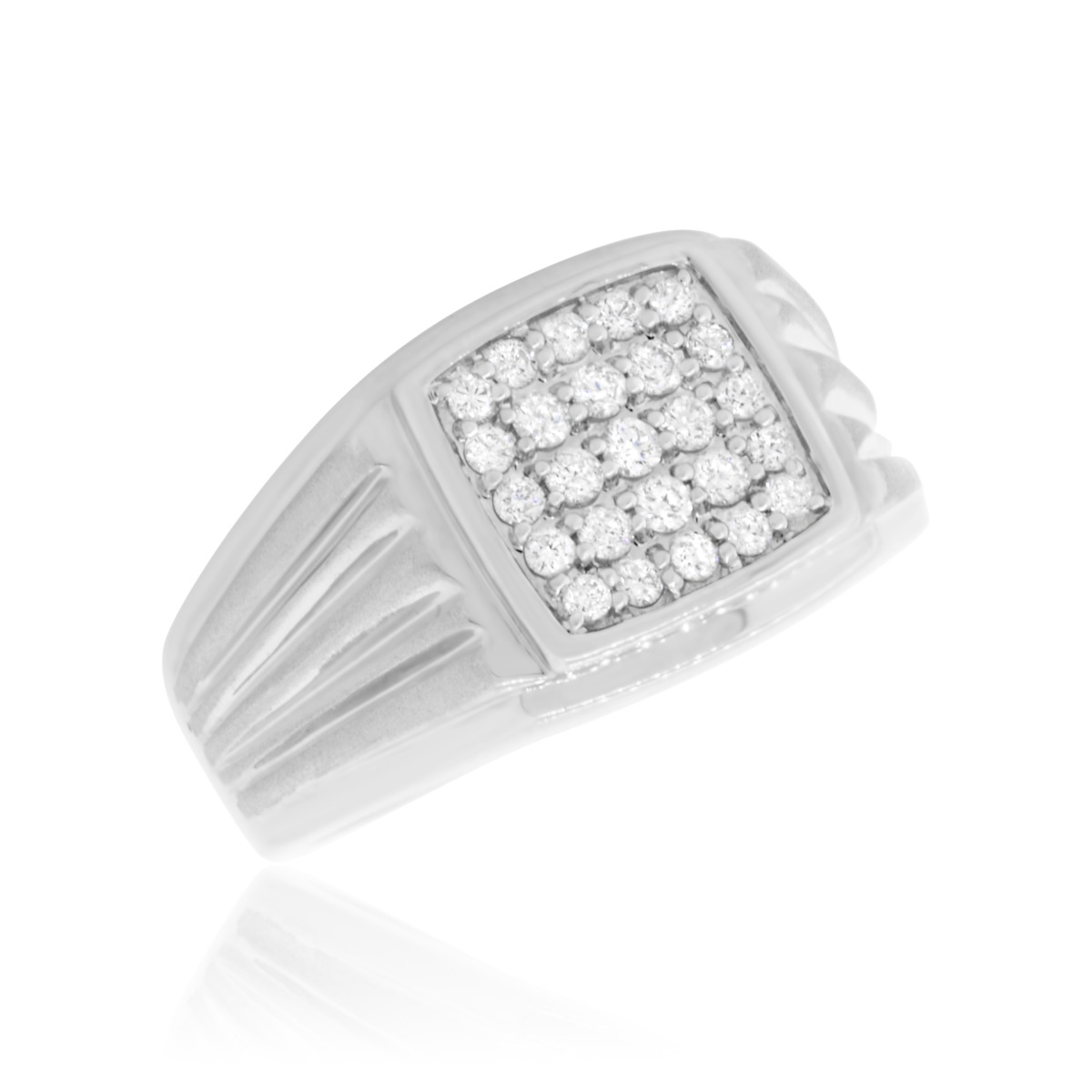 1 2 Carat TW Diamond Mens Wedding Band 10K White Gold