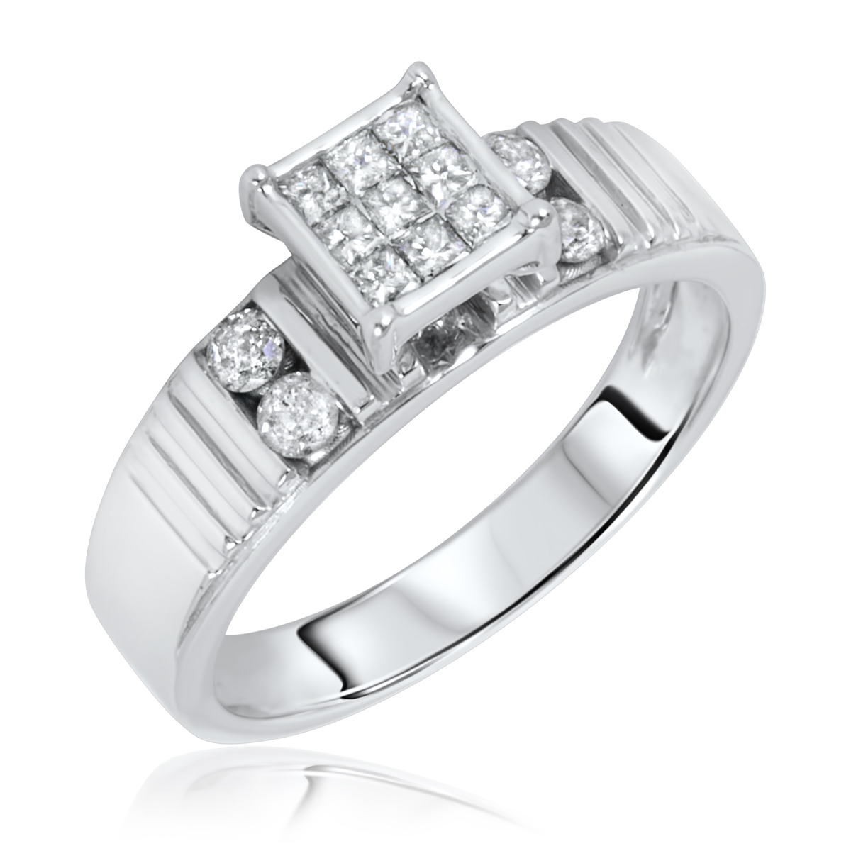 carat t w diamond women s engagement ring 14k white gold